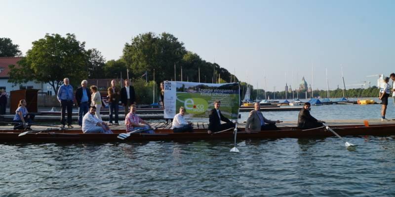 e.coSport Beteiligte in einem Ruderboot auf dem Maschsee