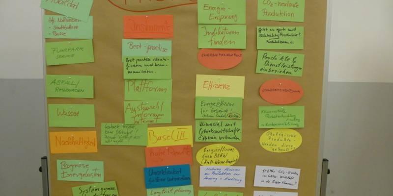 Foto einer Moderationswand der Strategiegruppe Wirtschaft vom Dezember 2012