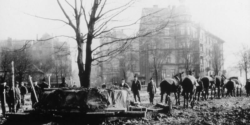 Historische Aufnahme einer Großbaumverpflanzung, die mit vielen Arbeitern und Pferden durchgeführt wurde