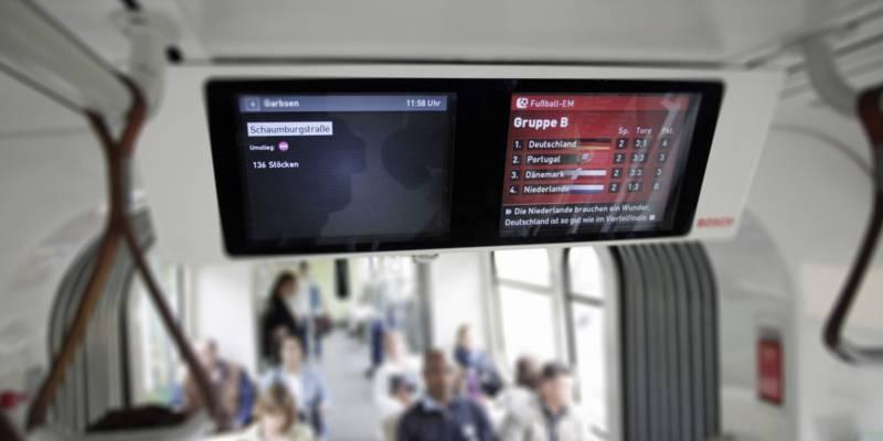 Zwei Monitore nebeneinander an der Decke einer Stadtbahn.