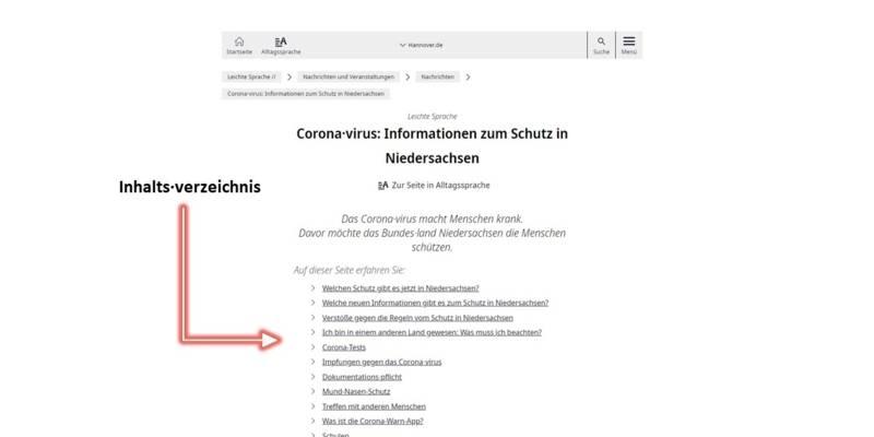 Inhaltsverzeichnis einer Artikelseite in Leichter Sprache