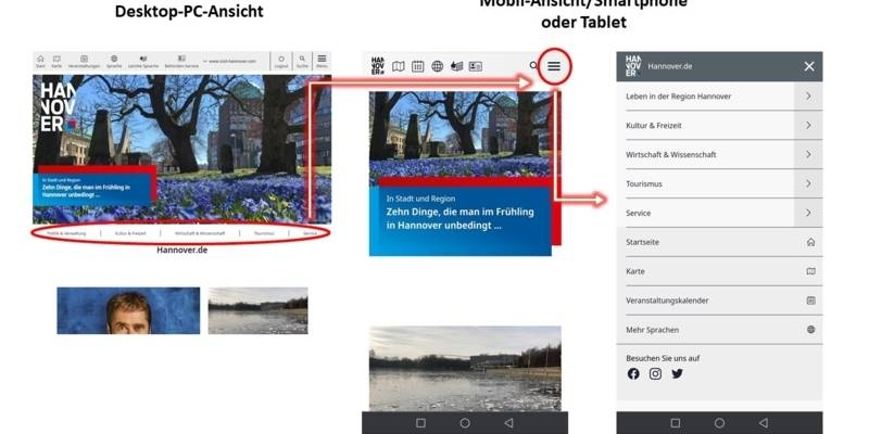 Screenshot einer Ansicht auf dem Desktop-PC oder auf einem Smartphone oder Tablet.
