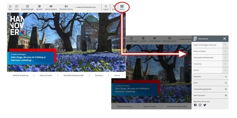Screenshot mit der Seitennavigation von Hannover.de.