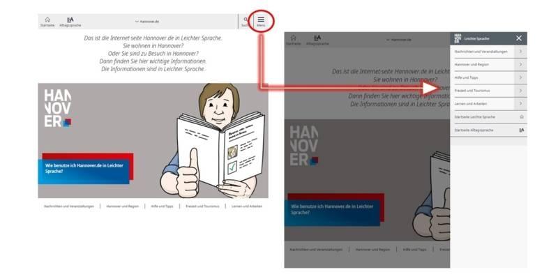 Screenshot mit der Seitennavigation im Leichte-Sprache-Portal