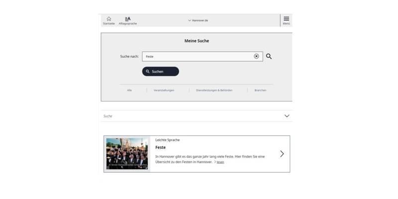 Screenshot vom Suchergebnis im Leichte-Sprache-Portal