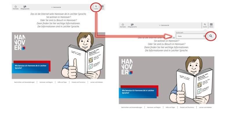 Das Suchfeld im Leichte-Sprache-Portal.