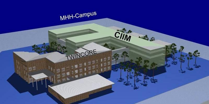 """3D Bild eines Gebäudekomplexes mit den Bezeichnungen """"MHH-Campus"""", """"TWINCORE"""" und """"CIIM"""""""