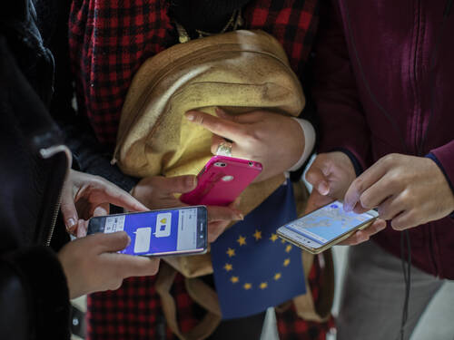 EU flag and mobile devices