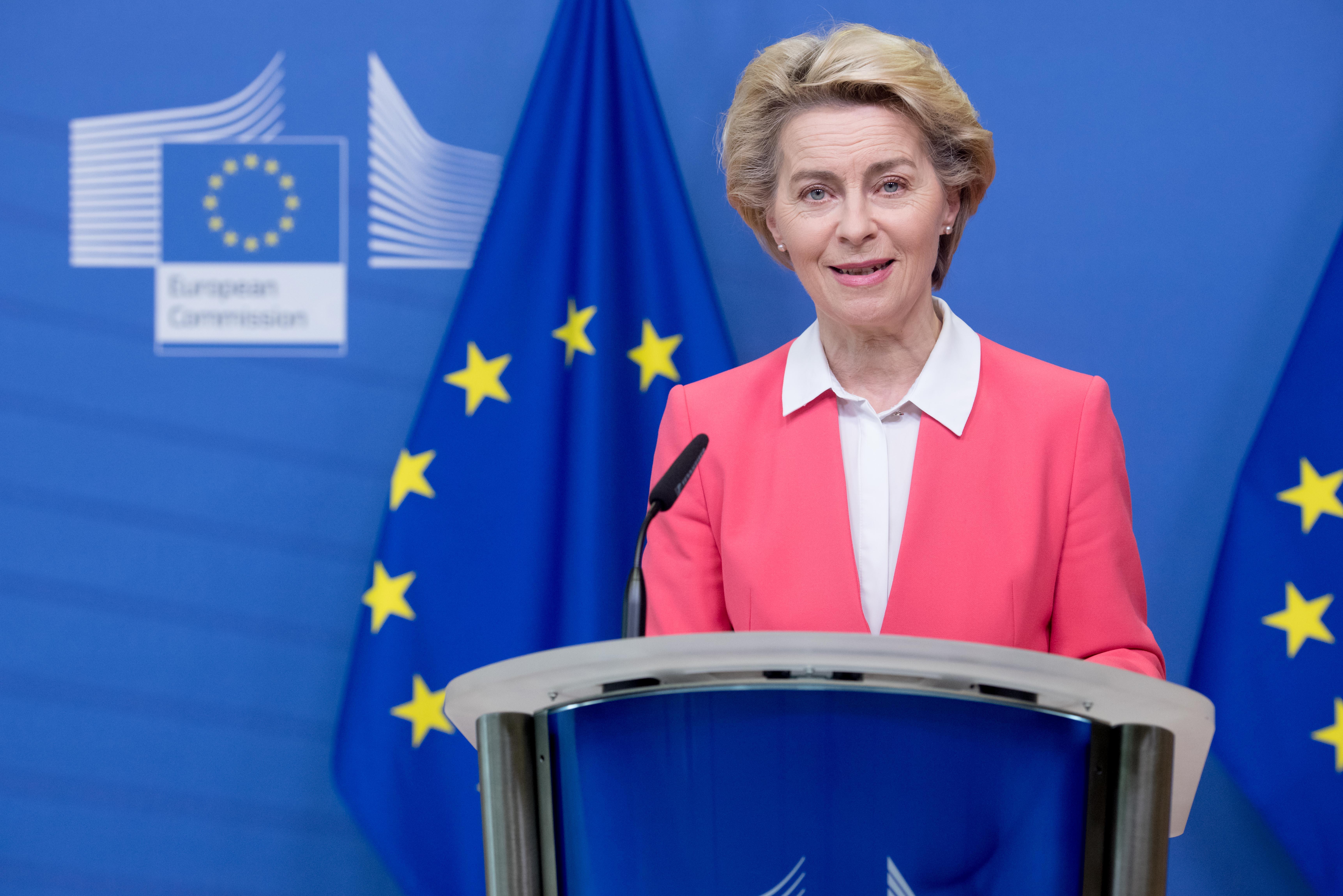 Ursula von der Leyen at the podium