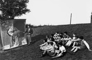 A glimpse of South America: outdoor geography lesson next to the girls' building in 1938