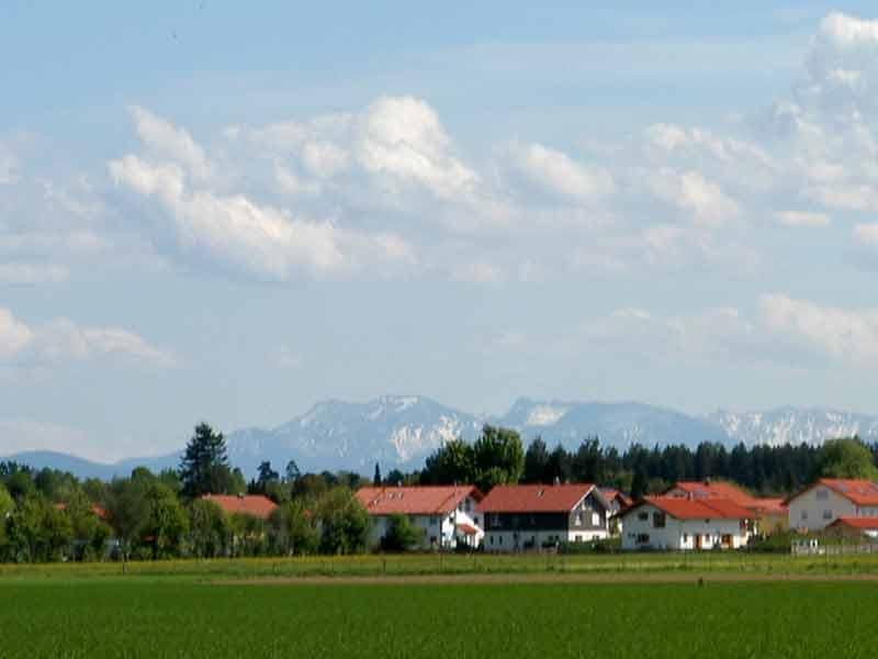 Grüne Wiesen, Häuser, Wald im Hintergrund Berge