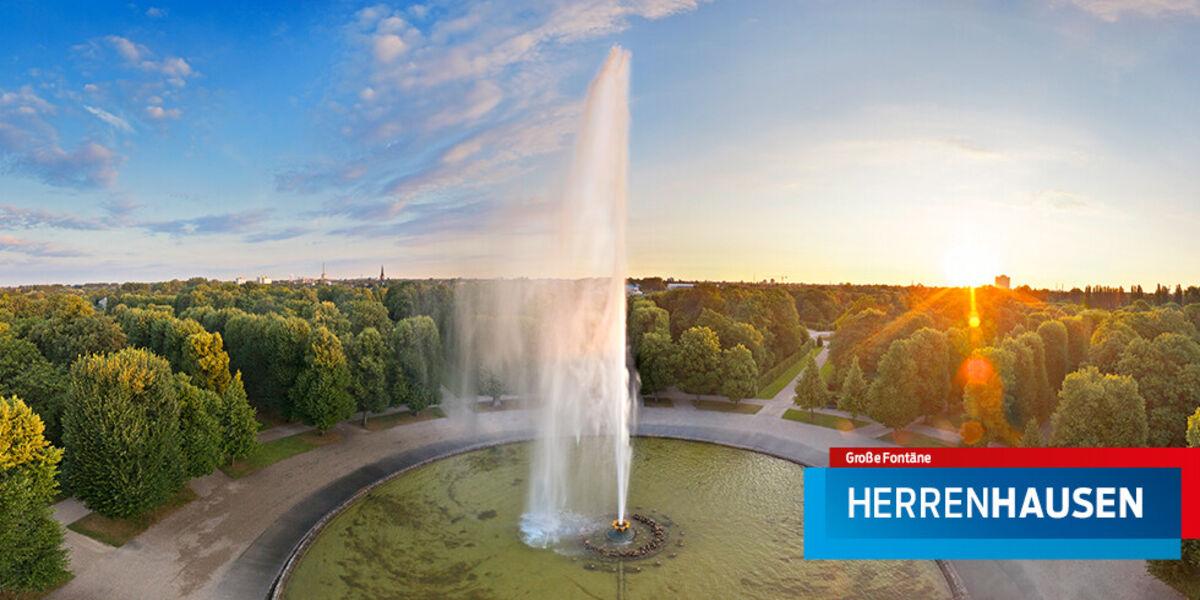 Luftbild der Großen Fontäne im Großen Garten Herrenhausen