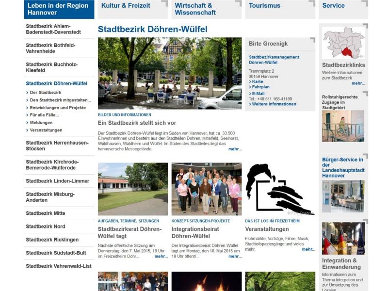 Screenshot des Stadtbezirksportals Döhren-Wülfel