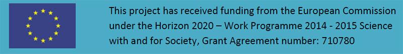 """Neben dem EU-Logo (gelbe Sterne auf blauem Hintergrund) steht ein englischer Satz, der auf Deutsch Folgendes bedeutet: """"Für dieses Projekt wurden im Rahmen der Finanzhilfevereinbarung Nr. 710780 Fördermittel aus dem Programm der Europäischen Union für Forschung und Innovation 'Horizont' 2020 bereitgestellt."""""""