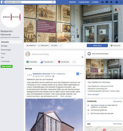 Stadtarchiv bei Facebook