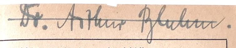 Autogramm Dr. Arthur Bluhm