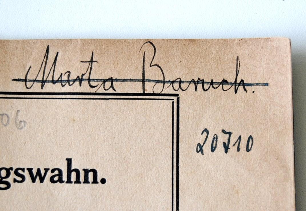 Autogramm von Marta Baruch, darunter die Signatur des NSDAP-Gauarchivs