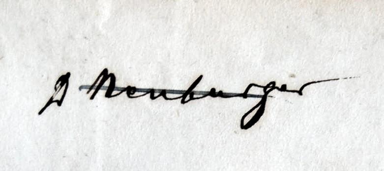 """Handschriftlicher Eintrag """" D[?] Neuburger"""""""