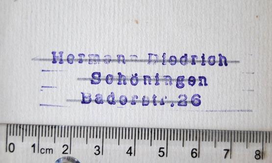 """Stempel """"Hermann Diedrich / Schöningen / Baderstr. 26"""""""