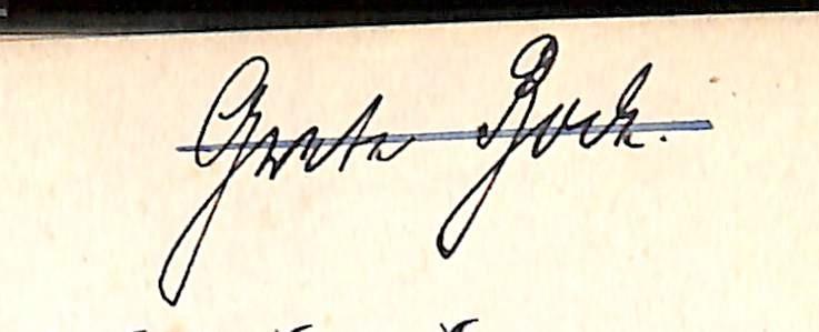"""Autogramm """"Grete[?] Rock."""""""
