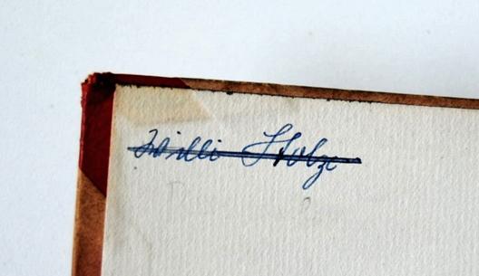 """handschriftlicher Eintrag """"Willi Stolze"""""""