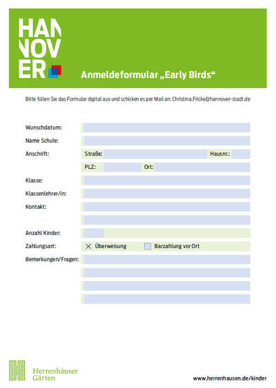 "Anmeldeformular ""Early Birds"""