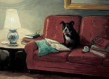 Zeichnung von Hurzlmeier: Hund auf Sofa