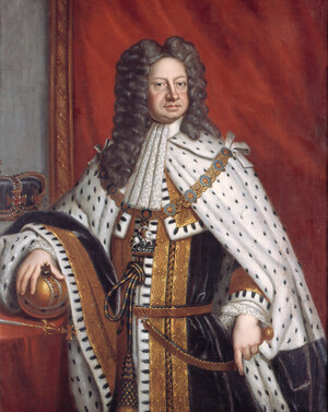 A portrait of King George I in his coronation robes