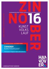 Das Plakat zum 16. ZINNOBER-Kunstvolkslauf: der Titel steht in roter und weißer Schrift in großen Lettern auf violettem Grund