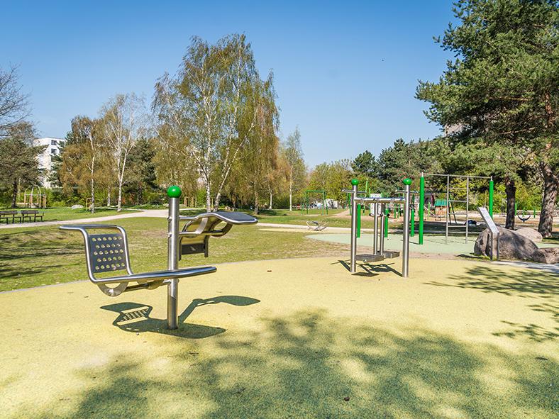 Grünfläche mit Sportgeräten.