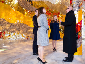 The princesses Beatrice and Eugenie of York and Ronald Clark, director of the Royal Gardens, visit the Grotto