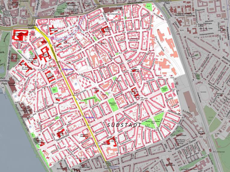 Evakuierungsgebiet für die Bombe in der Südstadt