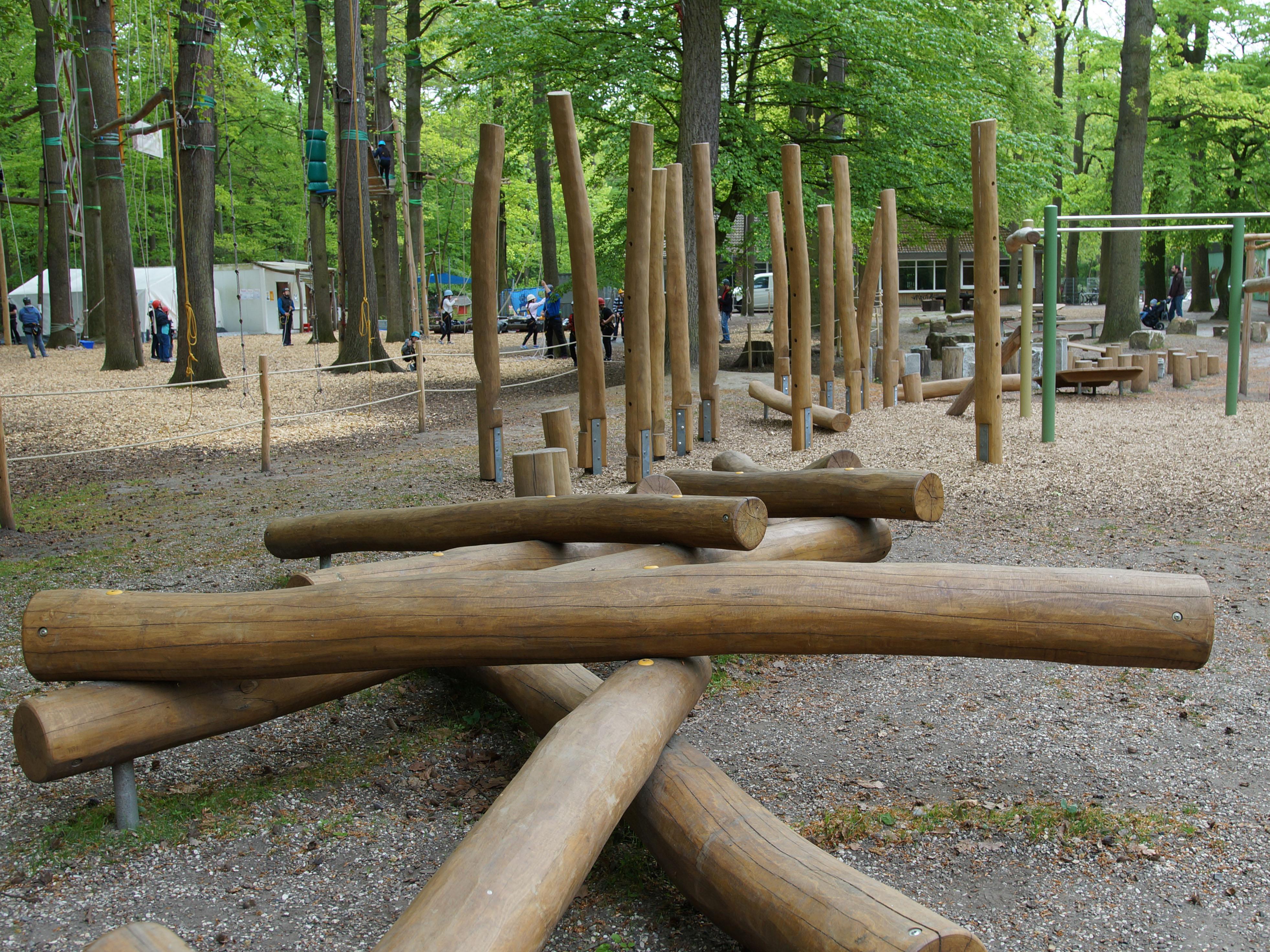Ein Bewegungsparcours im Wald.