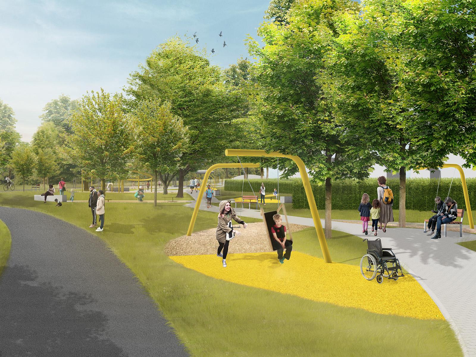 Visualisierung einer Spielplatzneugestaltung, im Vordergrund ein schaukelndes Kind, im Hintergrund weitere Spielgeräte und Sitzmöglichkeiten sowie zahlreiche Bäume