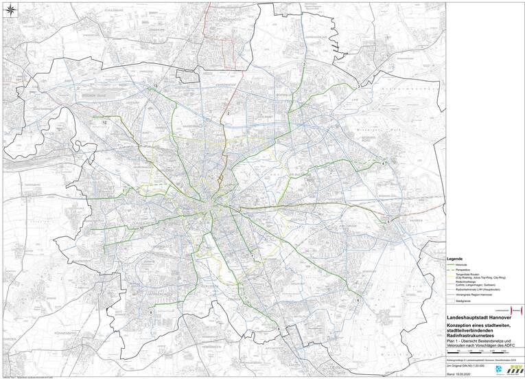 Plan des geplanten Veloroutennetzes der Stadt Hannover