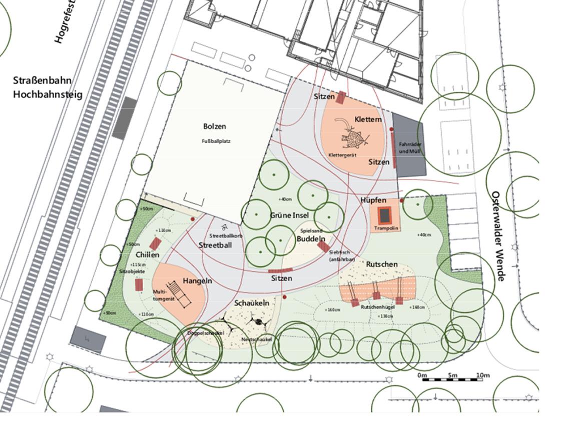 Planungsskizze eines Spielplatzes.