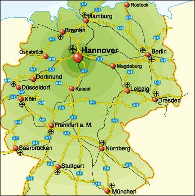 Orientierungskarte Deutschland Kraftfahrzeug Strasse