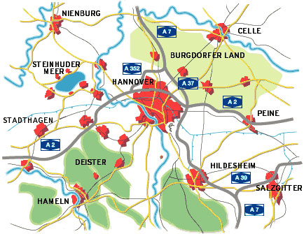Orientierungskarte Hannover Region und Umland