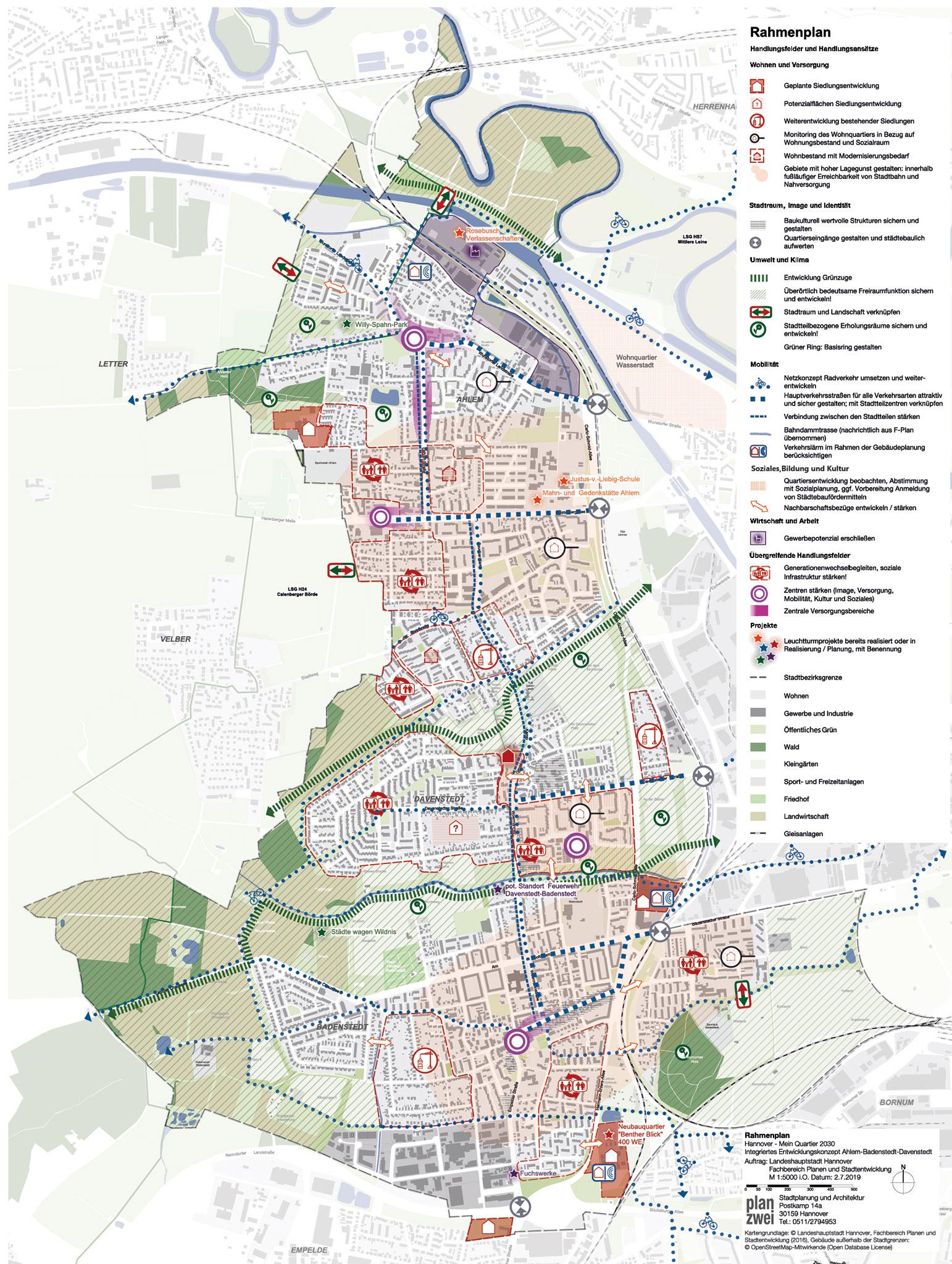 Kartenansicht der Stadtteile Ahlem, Badenstedt und Davenstedt
