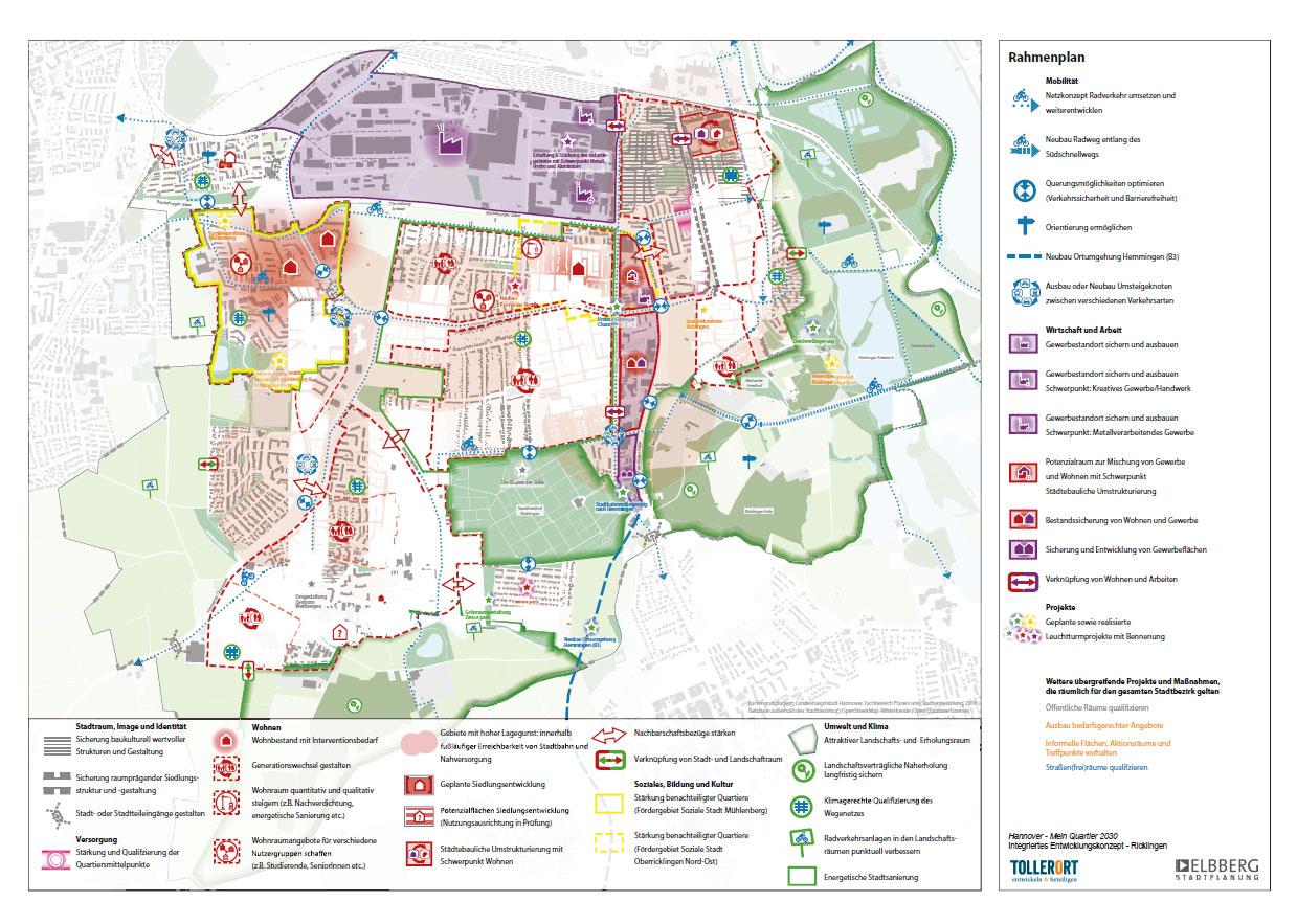 Kartenansicht der Stadtteile Ricklingen, Oberricklingen, Wettbergen, Mühlenberg und Bornum