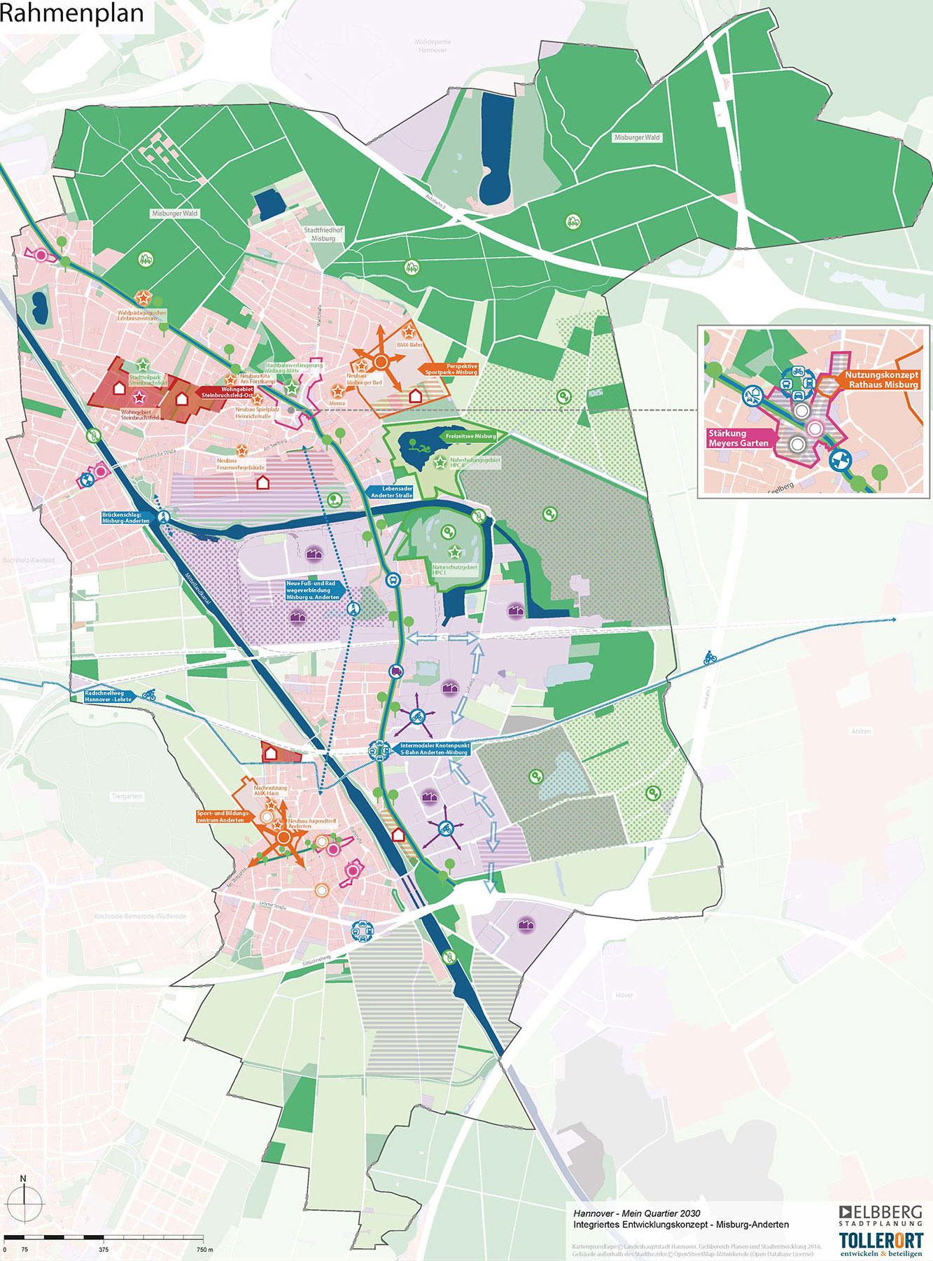 Kartenansicht der Stadtteile Anderten, Misburg-Süd, Misburg-Nord