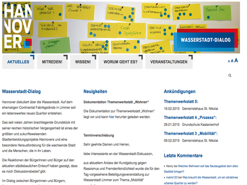 Screenshot der Website wasserstadt-dialog.info
