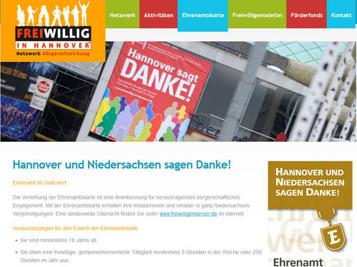 Screenshot der Homepage www.freiwillig-in-hannover.de