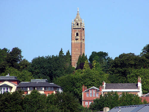 Cabot Tower made from sandstone on a hill in Bristol