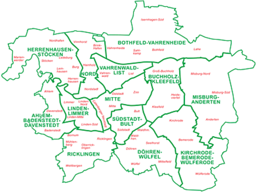 Map showing the district councils of Hannover
