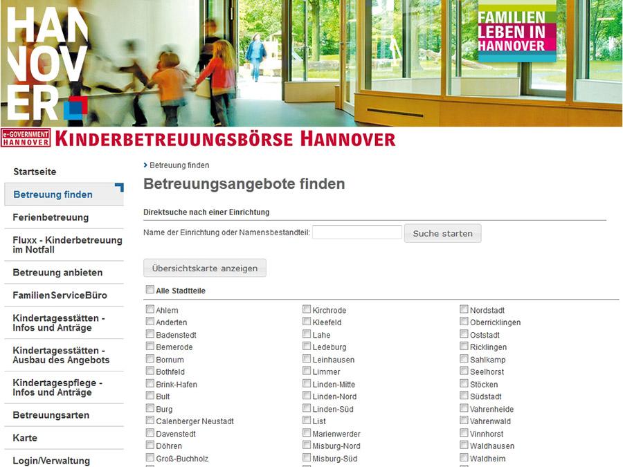 Vorschau auf den Internetauftritt der Kinderbetreuungsbörse Hannover