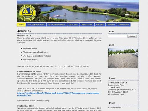 Screenshot Homepage - Förderverein Sommerlager e.V.