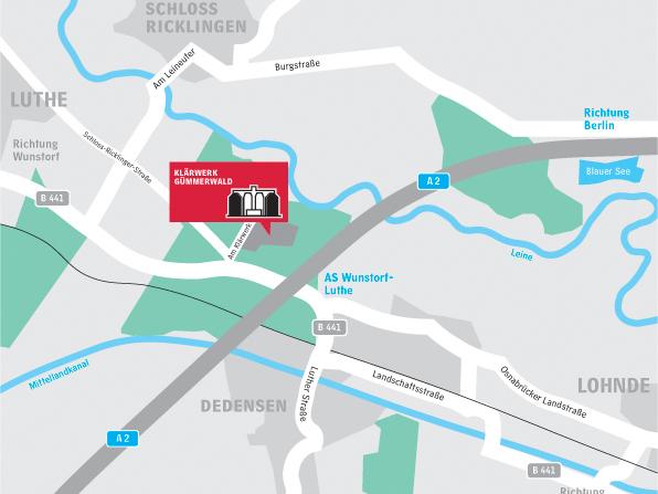 Anfahrtsbeschreibung Klärwerk Gümmerwald