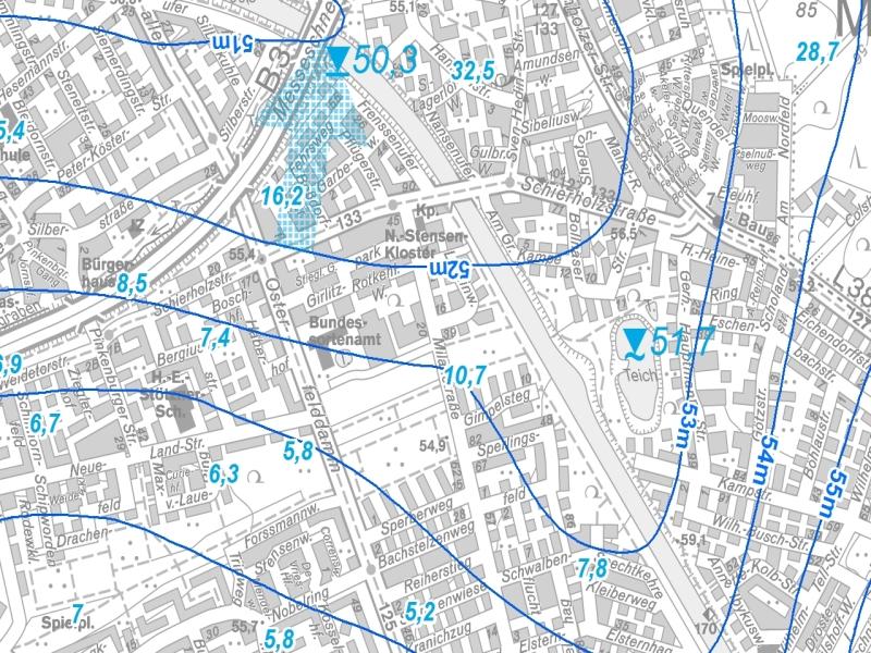 Kartenausschnitt aus der Grundwasserkarte