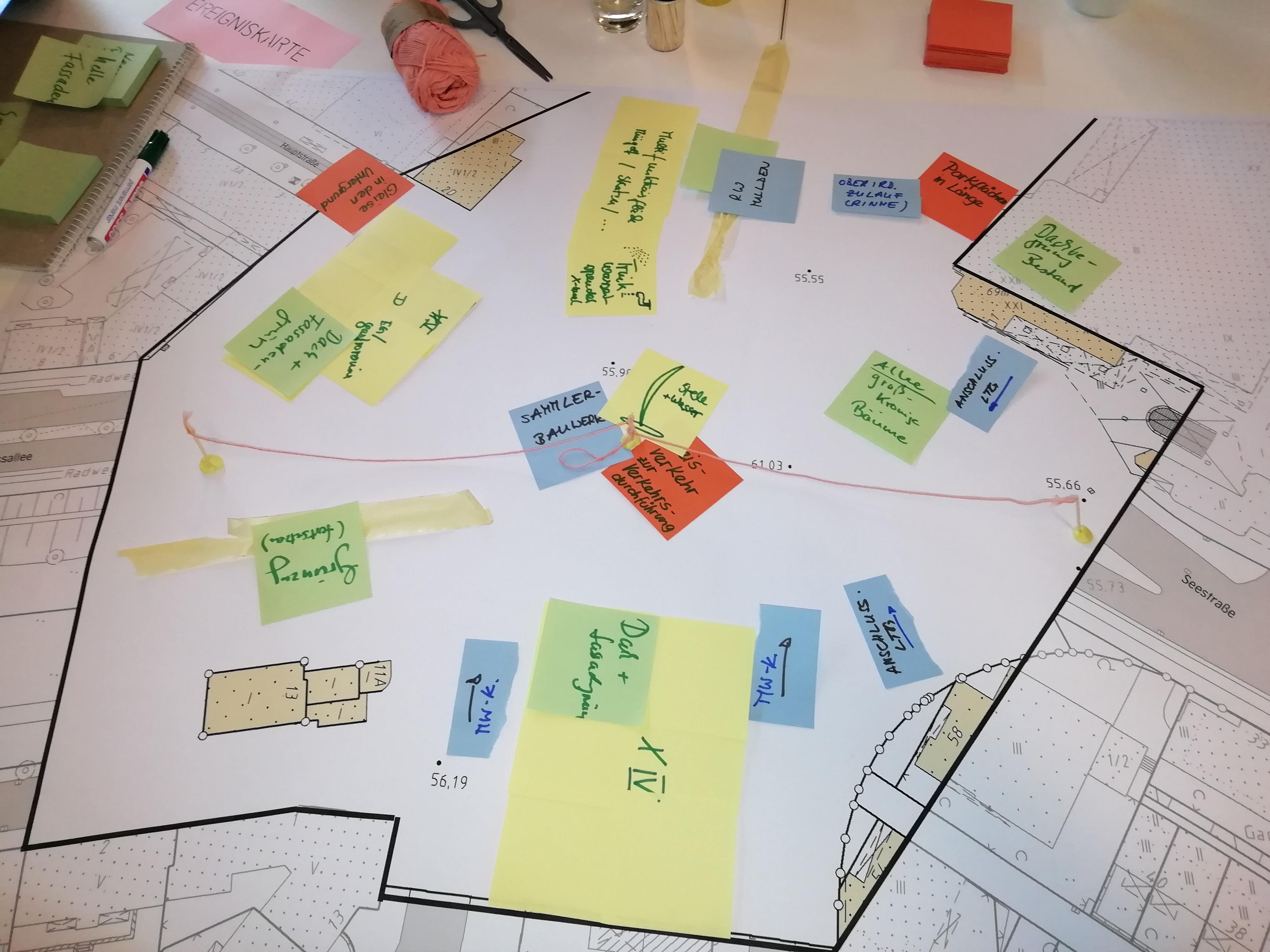 Auf einem Tisch liegende Projektskizze mit vielen handschriftlichen Hinweisen auf farbigen Zetteln auf einer Planfläche.